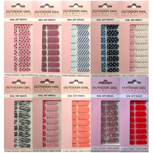 Outdoor Girl Nail Art Wraps Wholesale Job Lot x 24